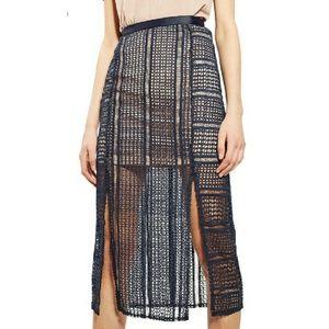 Topshop Geometric Split Lace Skirt